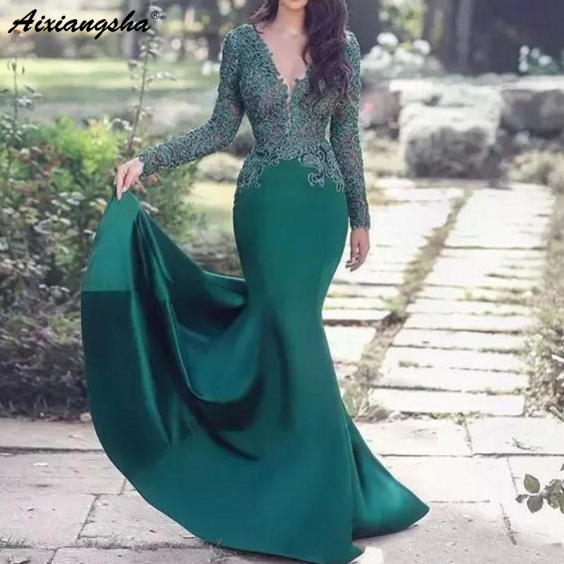 Green Muslim Evening Dresses 2019 V-neck Mermaid Long Sleeves Lace Islamic Dubai Saudi Arabic Elegant Long Formal Evening Gown formal wear