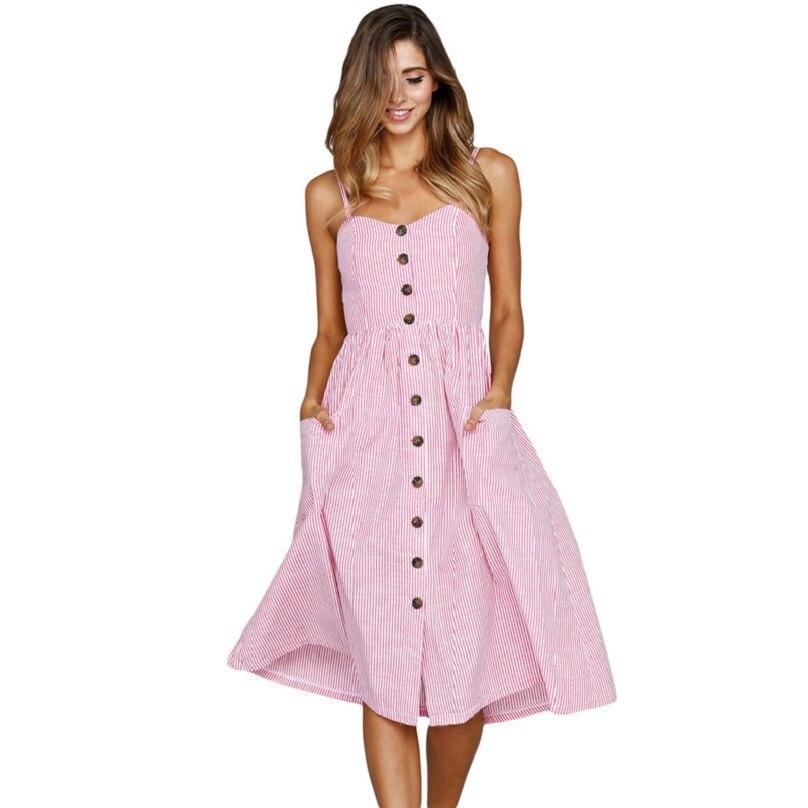 Bandage Dress Striped Button Sexy Casual Summer Strap Dress Long Boho Beach Pockets Vestidos Elegant Daily Dess Female