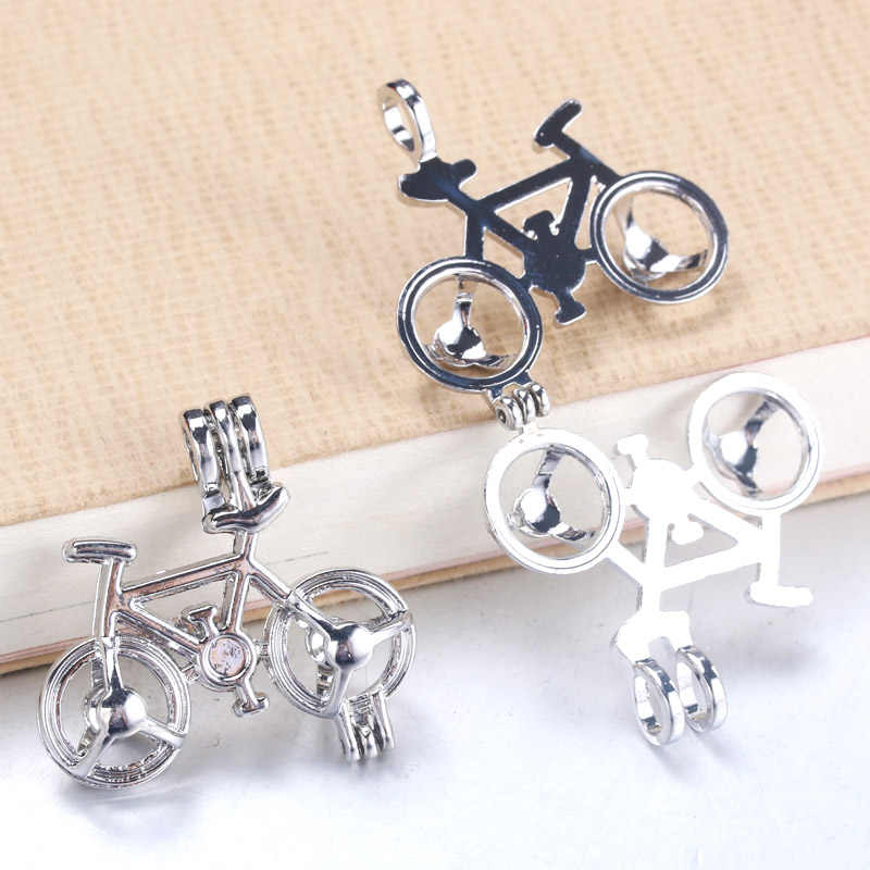 5pcs Silver Bicycle Pearl Cage Pendant Jewelry Making Bead Cage Locket Necklace Aroma Essential Oil Diffuser For Oyster Pearl