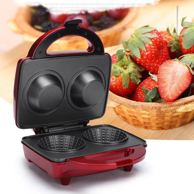 220V Electric Ice Cream Waffle Bowl Maker Iron Mold Plate Multifunctional Breakfast Cake Machine Depth 5CM Plate Diameter 10CM