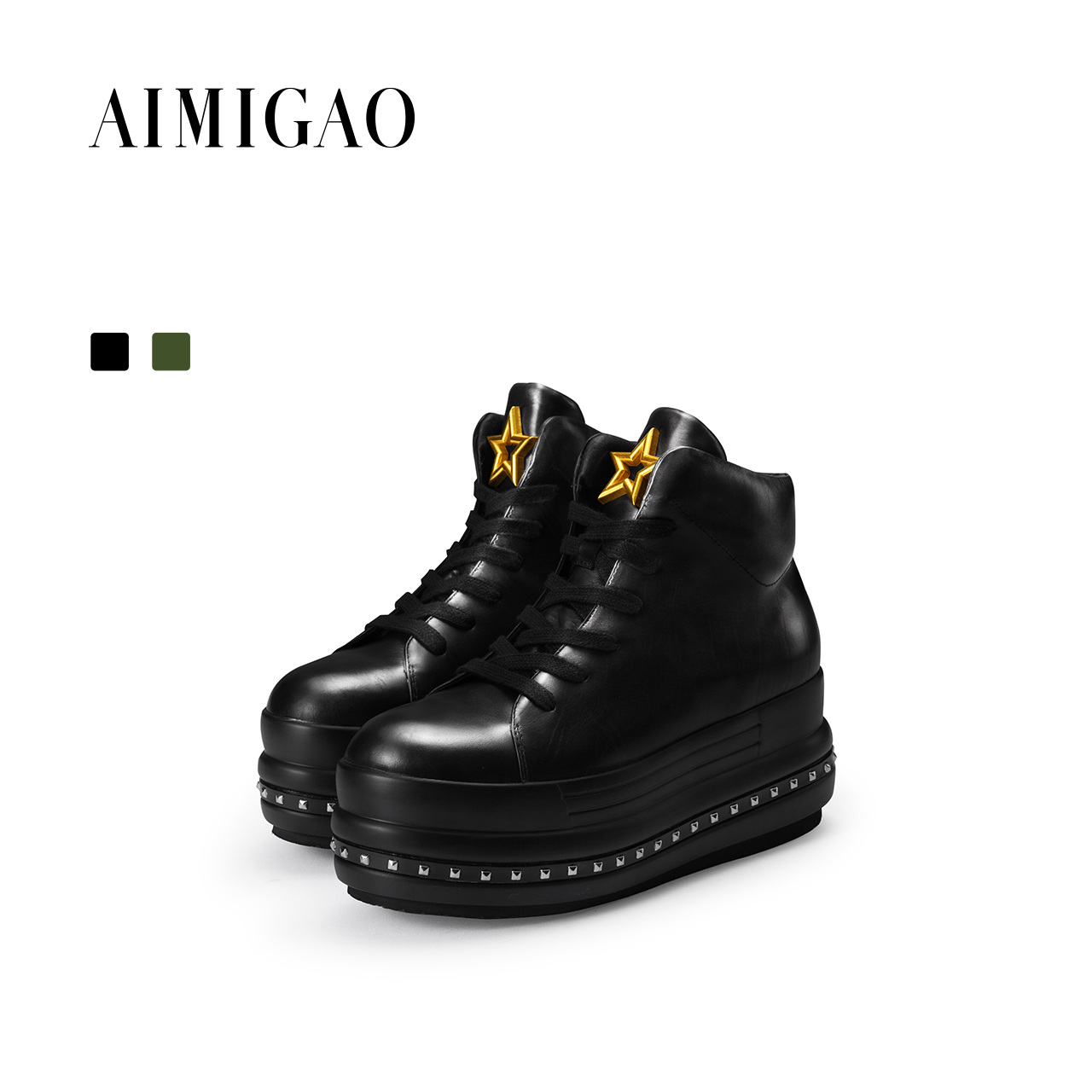 AIMIGAO 2017 autumn genuine leather rivet flat platform shoes fashion lace-up women casual shoes black front lace up casual ankle boots autumn vintage brown new booties flat genuine leather suede shoes round toe fall female fashion