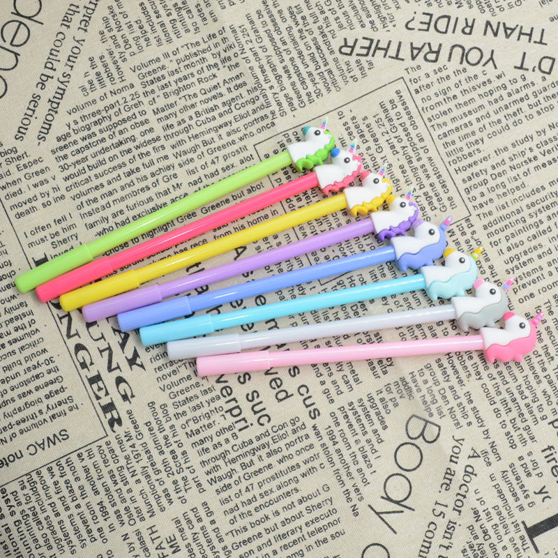 4 Pcs Se tunicorn gel pen color cute kawaii licorne Creative 0 38mm stationery papelaria fourniture bureau material escolarkalem in Gel Pens from Office School Supplies