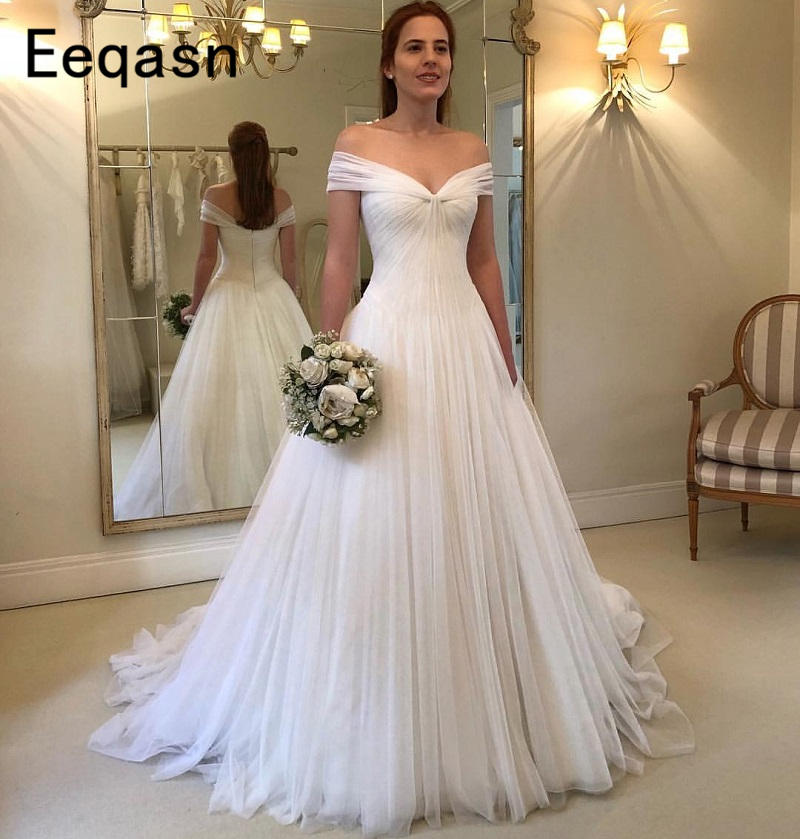 2018 New Boho Cheap Wedding Dresses Summer Beach Bridal Gown Tulle Pleated  A-line Bohemian. US  147.73. Elegant Long ... fb2dc648104b