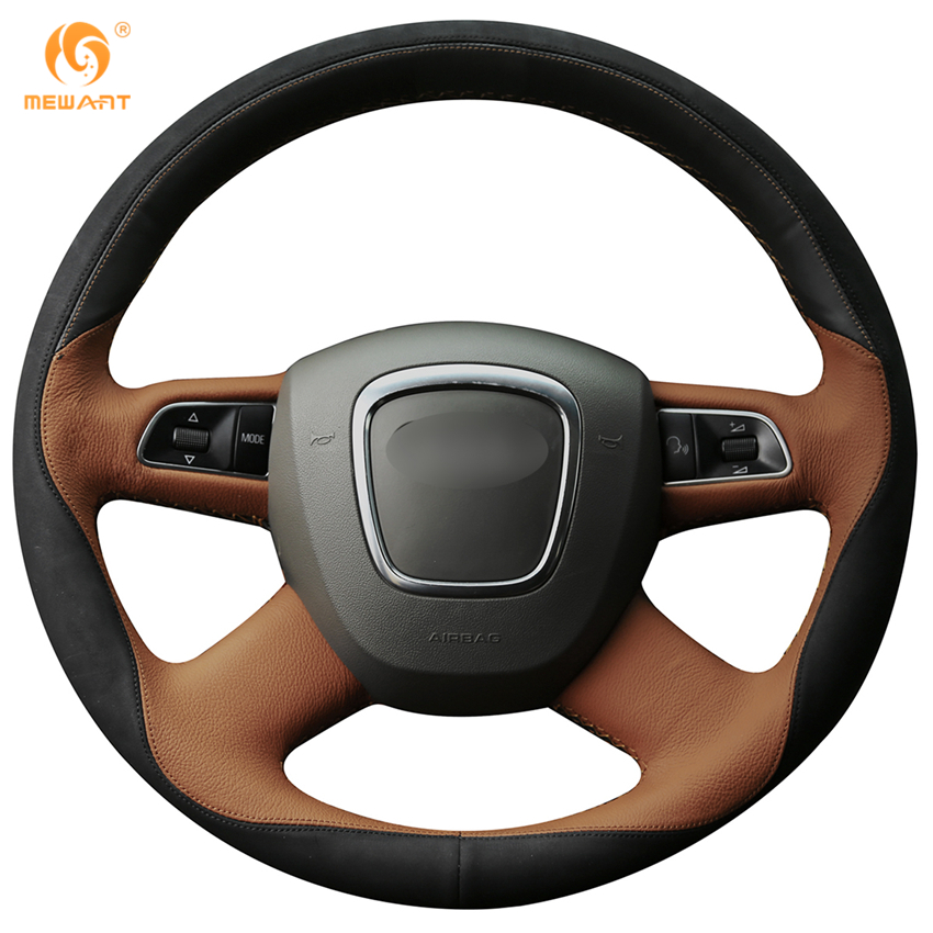 MEWANT Black Brown Leather Black Suede Car Steering Wheel Cover for Audi Old A4 B7 B8 A6 C6 2004-2011 Q5 2008-2012 Q7 2005-2011 mewant black genuine leather car steering wheel cover for old kia sorento 2004 2008