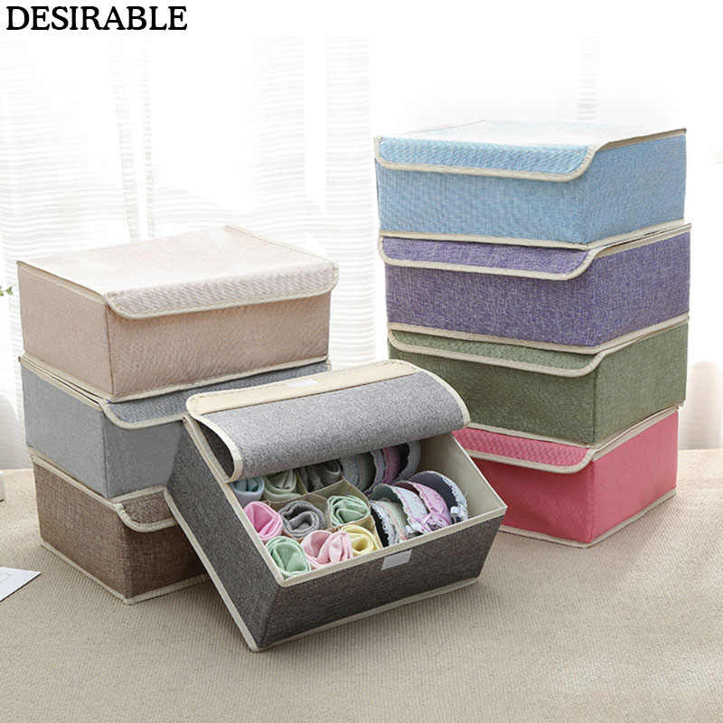 New Cotton linen underwear Storage box Multi-grid Collapsible water wash Finishing box with Cover Panty bra Socks organizer 1pcs
