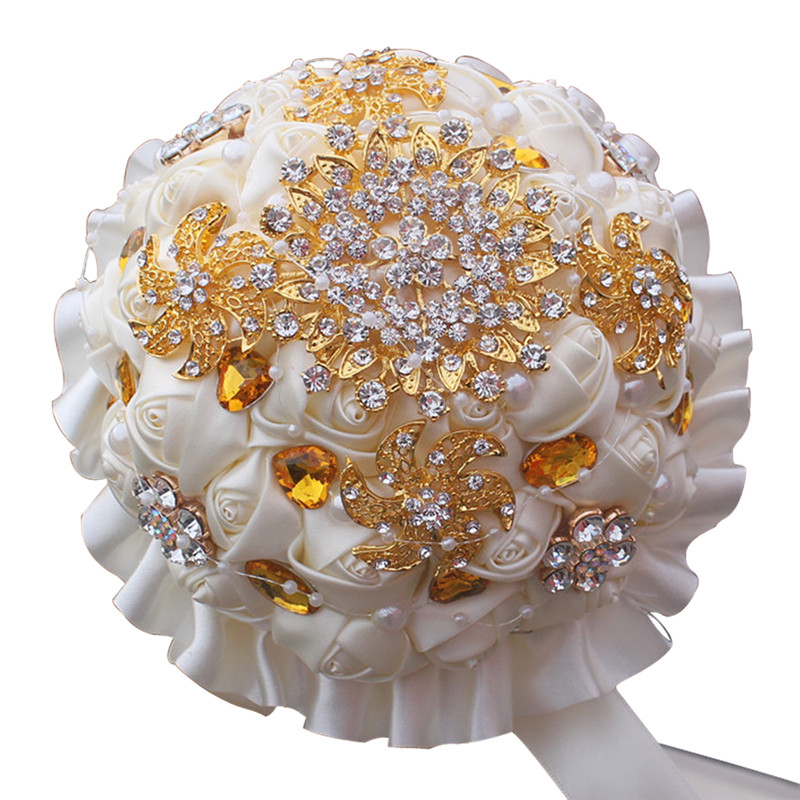 Wedding Bouquet Crystal Flowers: Ivory Cream Ribbon Rose Flowers Bride Holding Bouquet