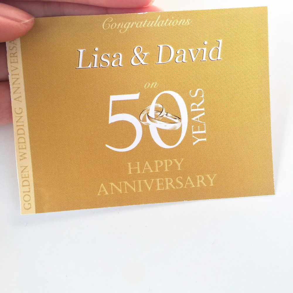 personalised 50th golden wedding anniversary wine or champagne label
