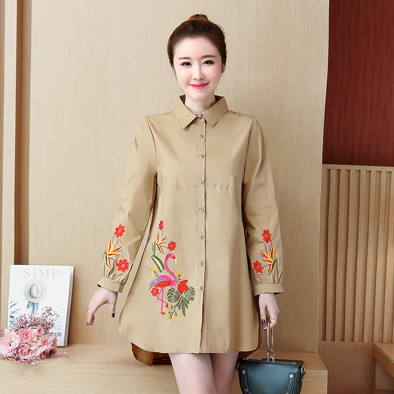 YICIYA khaki Plus size women long blouse XXXL 4XL 5XL Top shirts embroidery floral winter 2019 spring female large big clothes in Blouses amp Shirts from Women 39 s Clothing