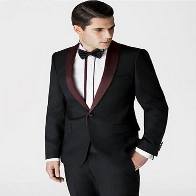 Black Shawl Lapel Mens Suits Custom Made Groomsmen Groom Tuxedos Men Suits Wedding Best Man 2 Pieces (Jacket+Pants)