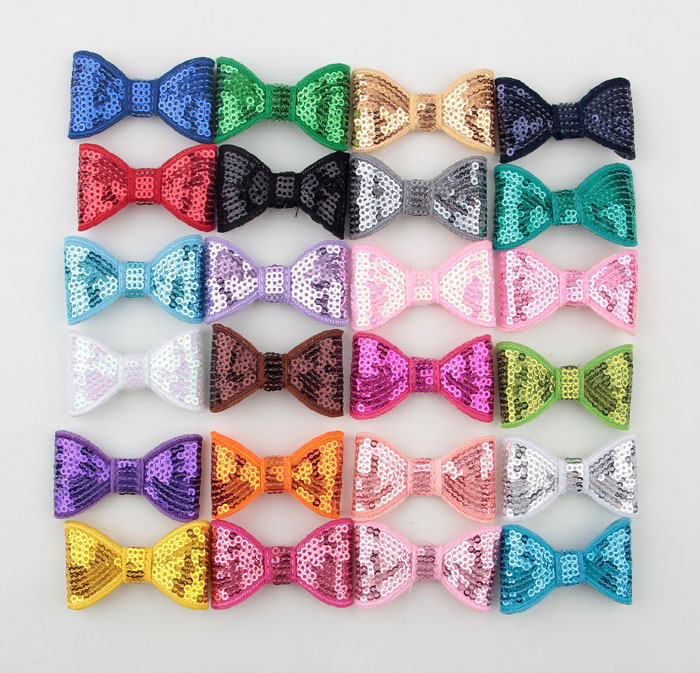 10pcs/lot 21colors DIY Shiny Sequin Bows Knot Without Clips Fashion Applique Headband Bows For Baby Girls Hair Accessories