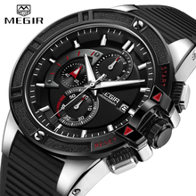 Relogio Masculino MEGIR Men Sport Watch Military Silicone Chronograph Quartz Mens Watches Male Casual Date Waterproof Wristwatch цена и фото