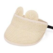 6a3ee3653b4 Fashion Straw Kids Boys Girls Sun Visors Hat with Ears Summer Baby Cap Cute  Adjustable Unisex