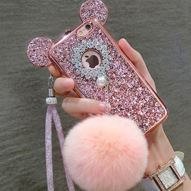 Luxury iphone 7plus Case Cover New 3D Crystal Mickey Ear Fur Ball Full Diamond Silicone Back For 7 6S 6plus Phone Lanyard