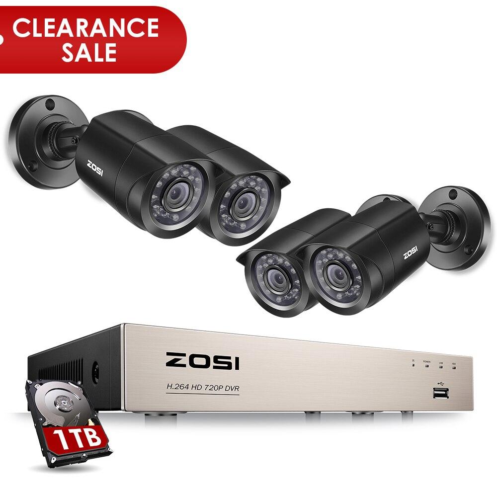 8CH CCTV Sistema de cámara ZOSI 4 UNIDS 1280TVL Exterior Impermeable Cámara de Seguridad 8CH 720 P DVR Día/Noche Kit DIY Sistema de Vigilancia de vídeo