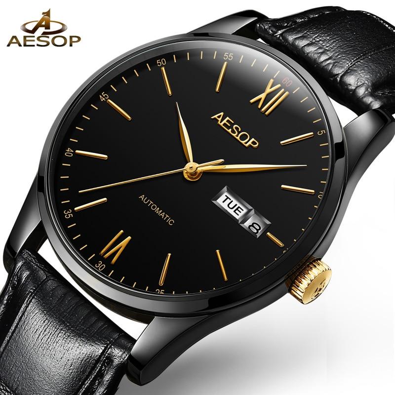 AESOP Simple Watch Men Automatic Mechanical Minimalist Thin Black Wrist Wristwatch Leather Band Male Clock Relogio Masculino 46