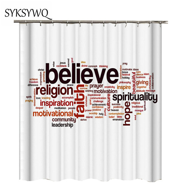 White Shower Curtain English Letters Believe Inspiration Words