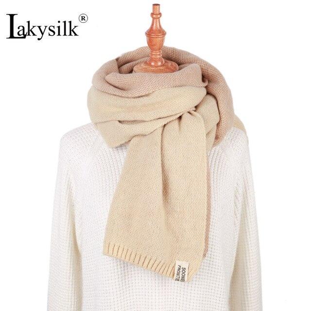 Lakysilk Tricoté Hiver Écharpe Femmes de Haute Qualité Doux Beige Echarpes    Wraps Dames Marque Solide aba6325195d