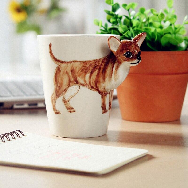 1 Unids Encantadora 3d Pintado A Mano Animal Perro Taza De Te Taza