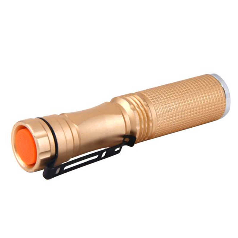 powerful led flashlight 7W XPE-Q5 LED 14500 AA Flashlight Portable Torch Champagne Mini laser pointer led torch light #4S12 (4)