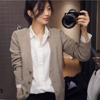 BARESKIY 2019 new solid color sweater cashmere cardigan female V neck loose jacket short long sleeved sweater Korean sweater