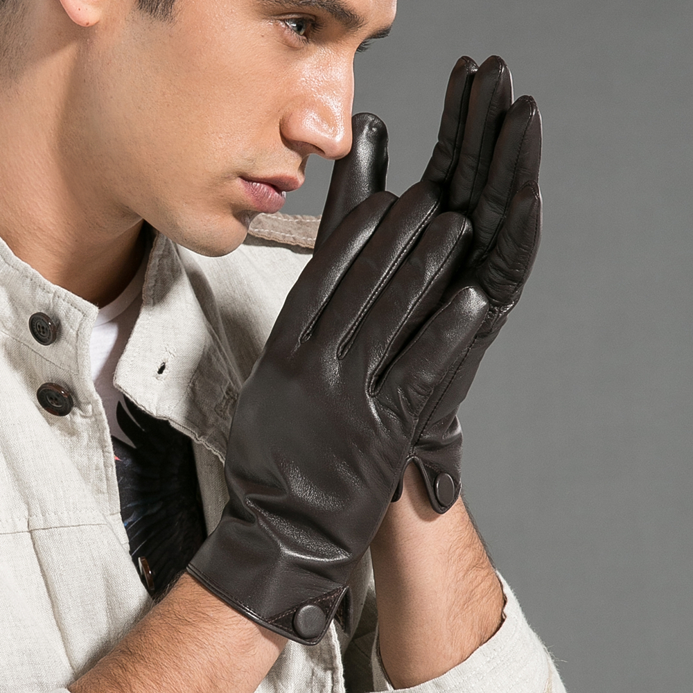 Magelier Véritable Gants En Cuir pour Hommes de Haute Qualité Noir Classique Gants en peau de Chèvre De Mode Bouton Chaud En Hiver STM007