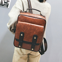 Men and Women Backpack Leather Vintage Functional Travel Bags Large Capacity Fashion Pu School Bags Backpack for Teenagers Gilr