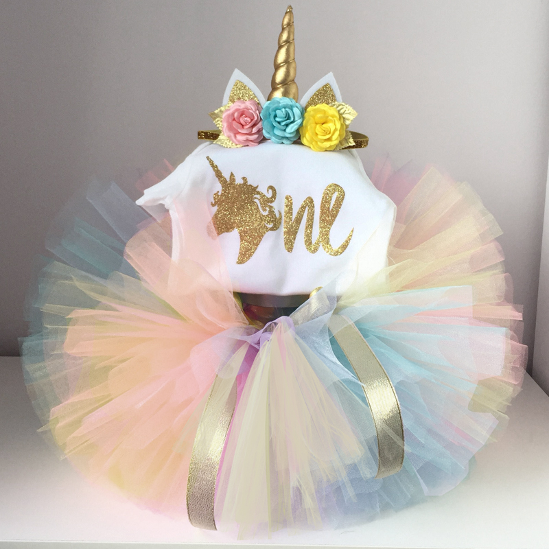 Baby Girl Unicorn Costume 1st Birthday Dress Outfits Tutu Summer Top Romper Flower Headband for Girls Clothes Fairy Tea Party