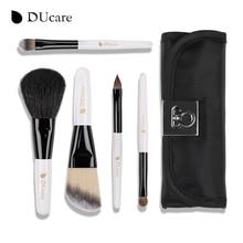 New Arrival DUcare 5pcs brush set professional high quality make up brush mini portable white make up brushes free shipping