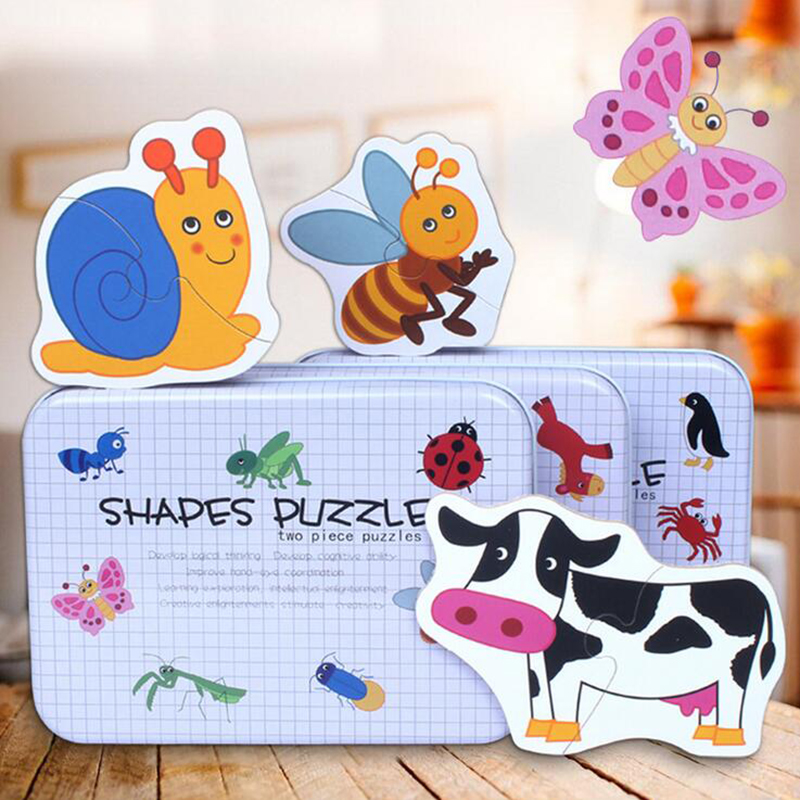 Puzzle Toys for Children Animals Fruits Shape Tin Case Packing Puzzle Cards Educational Early Learning Cards Kids Toy Puzzle Box