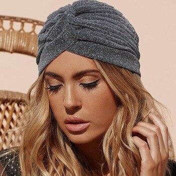 Bling de nudo sombrero turbante de mujer otoño invierno cálido sombrero y  gorros Casual 2017 90 s Streetwear de la India sombrero de mujer 0d0ea16f77b