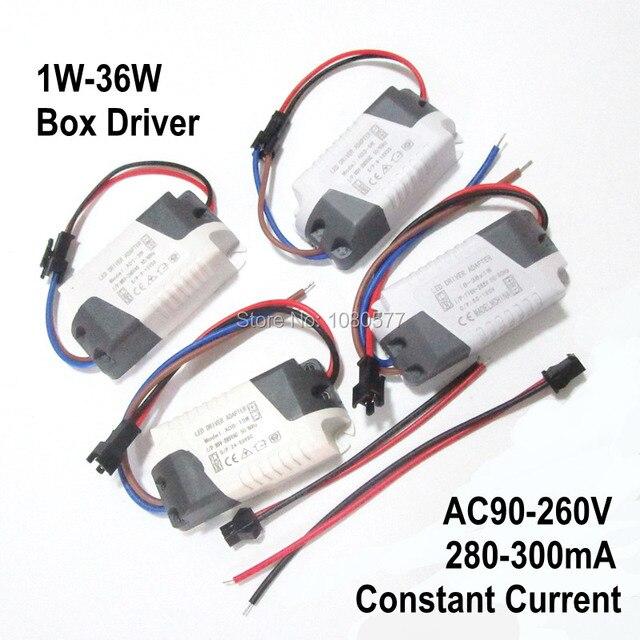 2 개/몫 led 전원 공급 장치 정전류 절연 램프 드라이버 300ma 280ma 1 w 3 w 5 w 7 w 9 w 10 w 20 w 30 w 36 w 조명 변압기