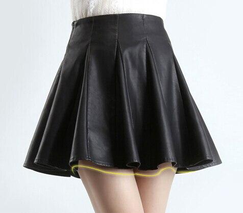 Womens Summer Autumn A-line Pleated Ball Gown Faux Leather Mini Skirt Plus Size 3XS-8XL High Waist Skirts Saia Jupe Tutu