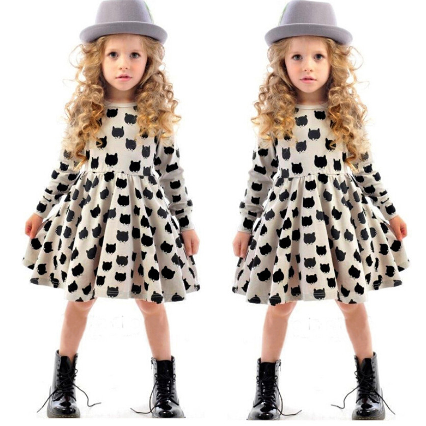 257b7e0c1 Autumn Baby Girl Party Wear Dress Lovely Black Cartoon Cat Clothes ...