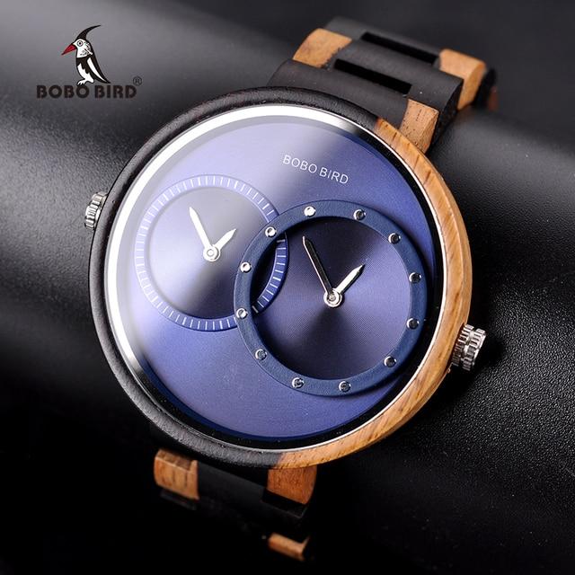 BOBO BIRD الفاخرة يحب ساعة relogio feminino مزيج لون خاص ساعات خشبية تصميم الحد الأدنى اثنين من المنطقة الزمنية فكرة الهدايا
