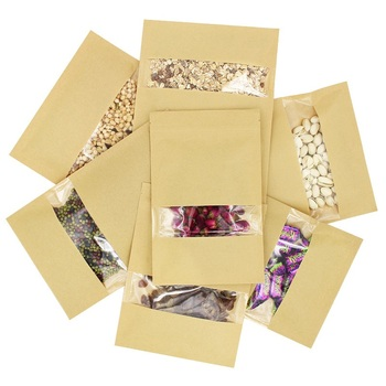 1000Pcs/lot Kraft Paper Food Bag , Reusable Sealing Bag Pouch with Clear Window for Storing Cookie Dried Food Snack wholesale