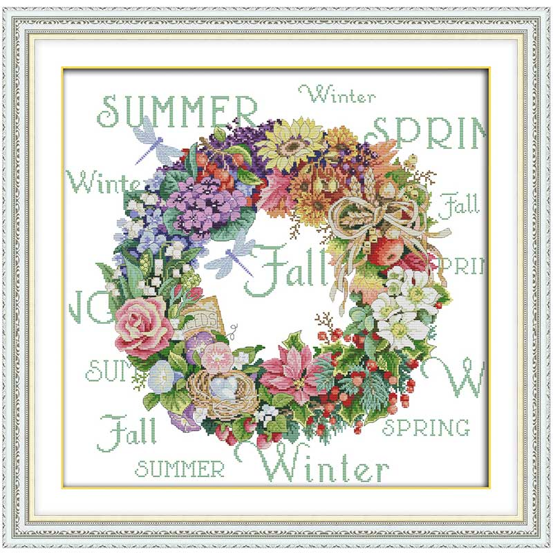 Wreath Of All Seasons   Counted Cross Stitch 11CT 14CT Cross Stitch Set Wholesale Cross-stitch Kit Embroidery Needlework