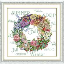 Wreath of All seasons Counted Cross Stitch 11CT 14CT Cross Stitch Set Wholesale Cross-stitch Kit Embroidery Needlework(China)
