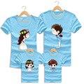 2016 Viagens de Férias de Verão Da Família Roupas Combinando Mãe Pai Do Bebê Dos Desenhos Animados de Algodão de Praia Curto-de mangas compridas T-shirt Da Família Parece