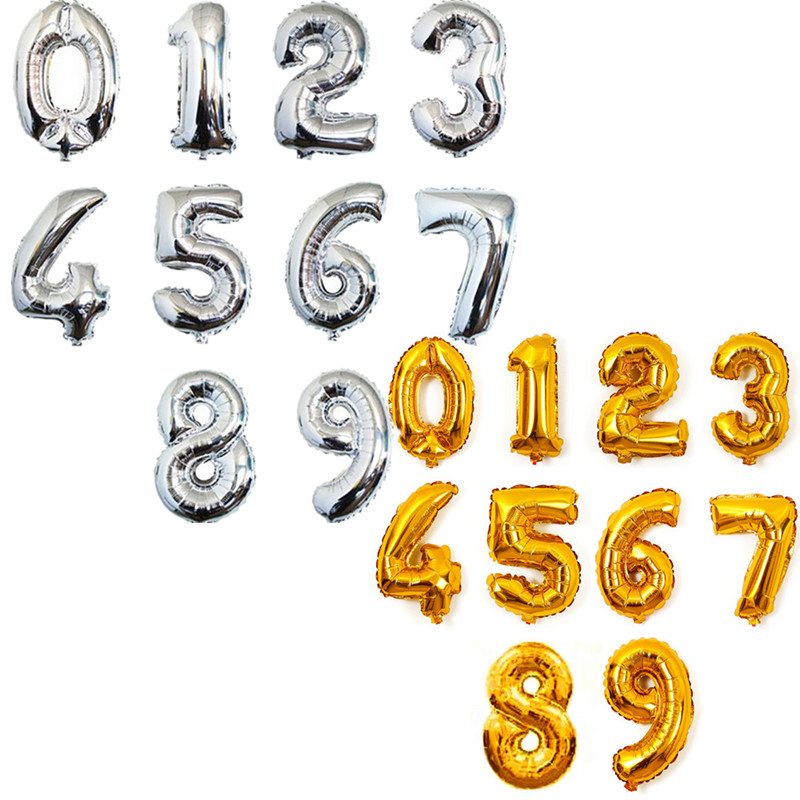 Free shipping! Hot-selling 40-inches aluminum gold silver birthday balloons deco