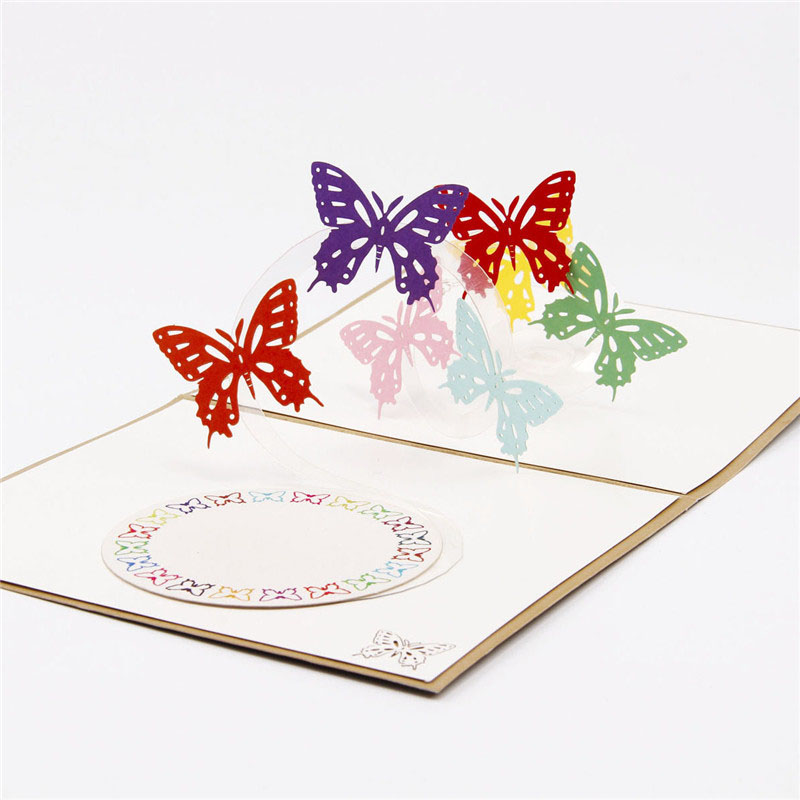 Hot 3D Paper Laser Cut Carving Rainbow Butterfly Greeting Cards Wedding  Birthday Party Invitation Card Valentineu0027s