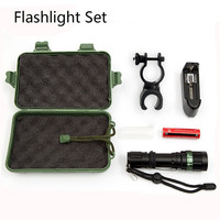 New Quality Plastic Box LED Flashlight Set 18650 High Power LED Torch Lamp+Charger+Battery+Bike Holder Dropshipping 1025