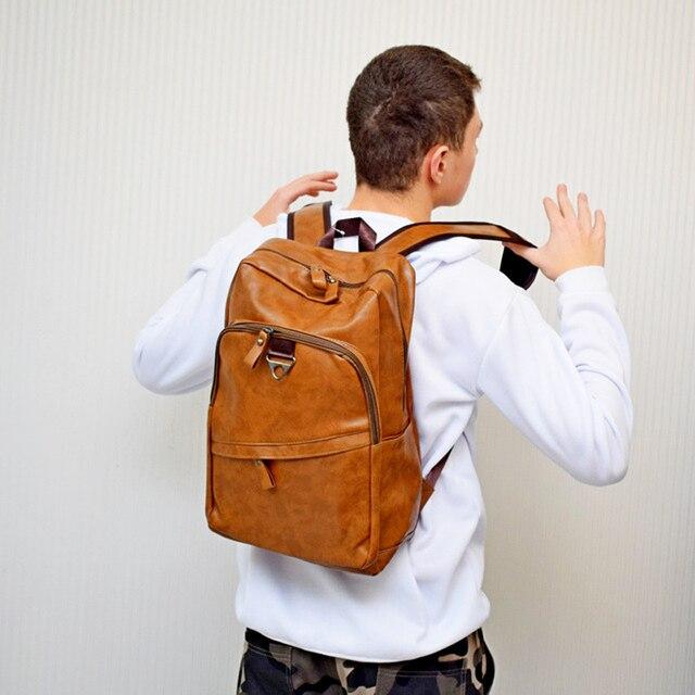 Fashion Men Backpack Waterproof PU Leather Travel Bag Man Large Capacity Teenager Male Mochila Laptop Backpacks 3