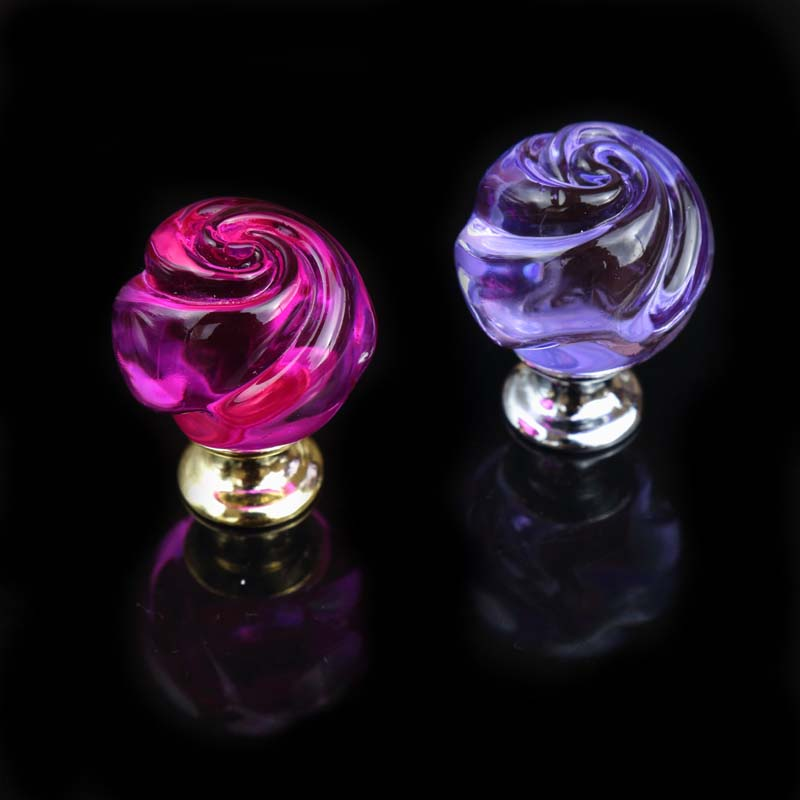 creative fashion rose glass drawer win cabinet knobs pulls silver gold red purple dresser kitchen cabinet door handles knobs css clear crystal glass cabinet drawer door knobs handles 30mm