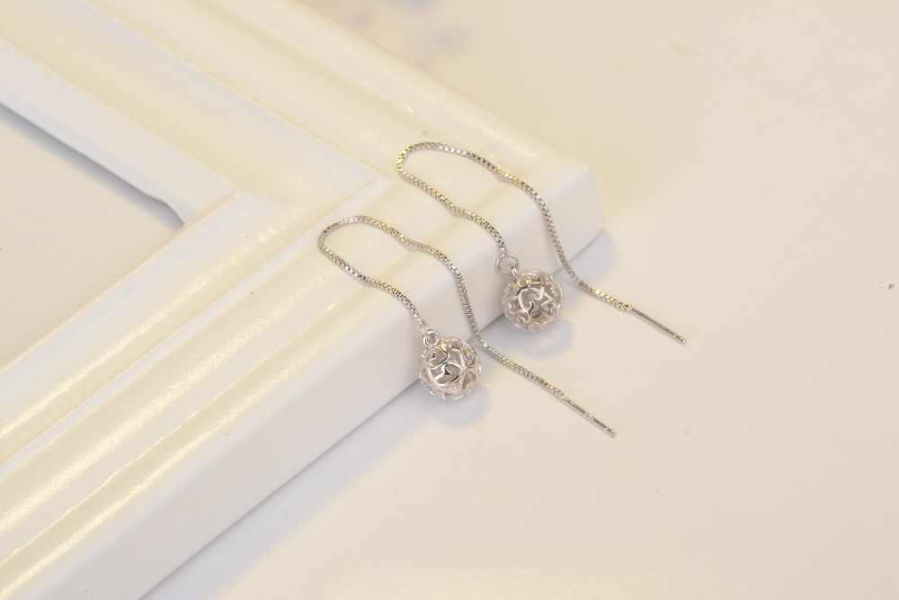 1 ペア 925 スターリングシルバーライン糸縫うブラブライヤリングワイヤーバー蝶ボックスチェーンイヤリングロング丈