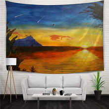 World Sunset Moon Shooting Stars Dusk Scenery Gold Sky Home Decor Hanging Tapestry Throw Yoga Mat Digital Printing Wall Carpet
