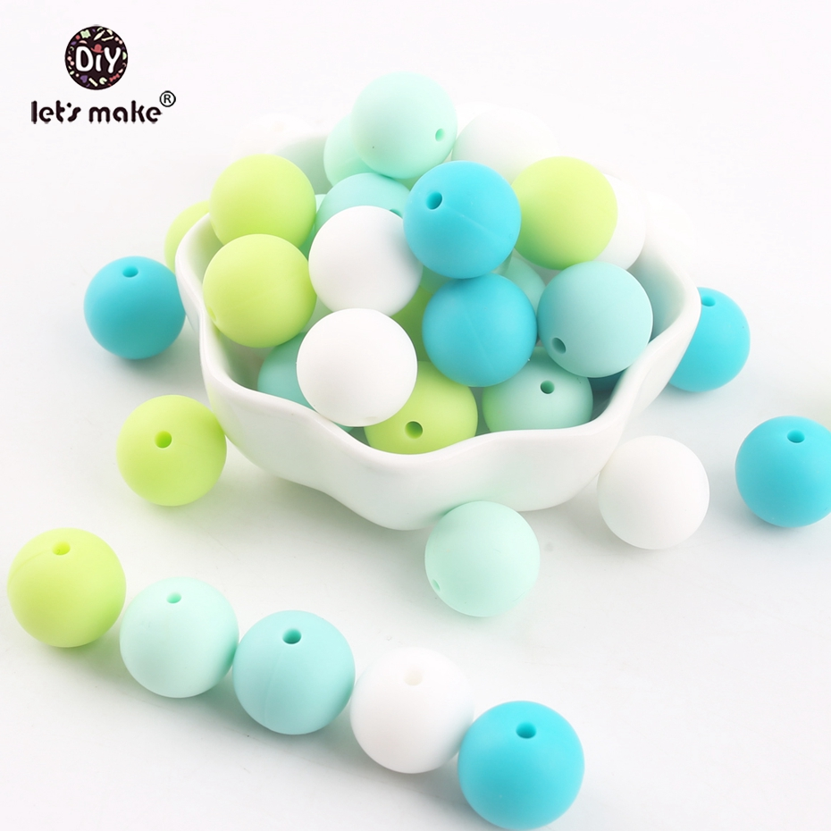 Let's Make Silicone Beads Green Series Bead 100pc 15mm Chew Teething Accessories DIY Nursing Necklace Beads Baby Teether