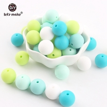 Lets Make Silicone Beads Green Series Bead 100pc 15mm Chew Teething Accessories DIY Nursing Necklace Beads Baby Teether