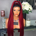 Ombre Red Human Hair Wigs Silky Straight Full Lace Wig Brazilian Virgin Hair Dark Roots Ombre Burgundy Glueless Full Lace Wig
