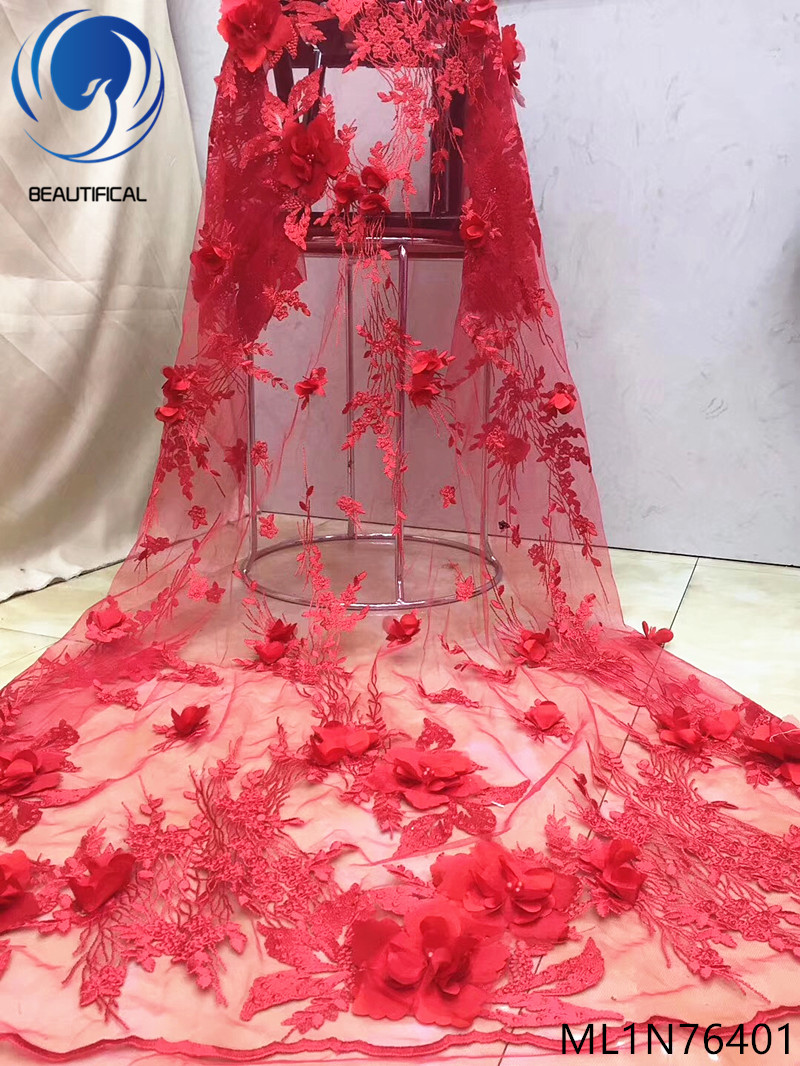 BEAUTIFICAL red african fabric lace 3d lace fabric latest 3d lace fabrics 3d laces 5yards/piece for big occasion ML1N764