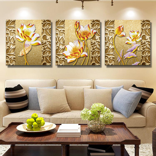 painted flowers canvas wall paintings art oil pictures modular